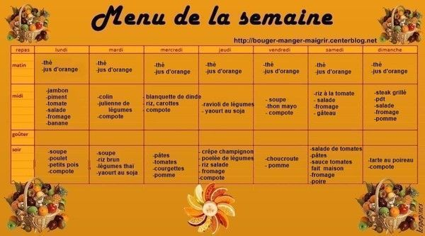 menu du 06 au 12 octobre 2014