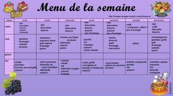 Menu di t tique pour la semaine des photos des photos de for Menu dietetique