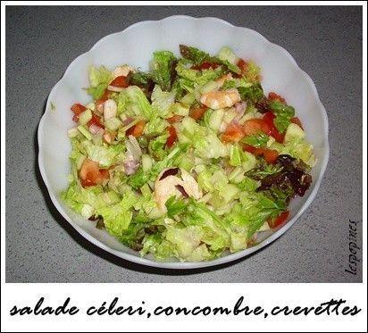 recette de salade c leri concombre et crevettes. Black Bedroom Furniture Sets. Home Design Ideas