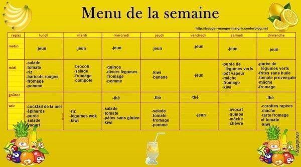 menu du 06 au 12 avril 2015