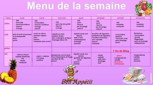 menu du 28 mai au 03 juin 2012 planning repas minceur pour une semaine. Black Bedroom Furniture Sets. Home Design Ideas