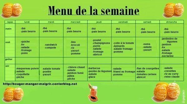menu du 04 au 10 aout 2014