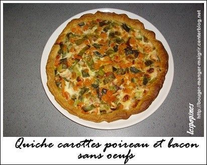 Recette de quiche carotte poireau bacon sans oeufs centerblog - Recette quiche sans oeuf ...