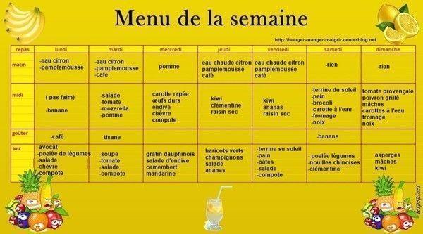 menu du 19 au 25 janvier 2015