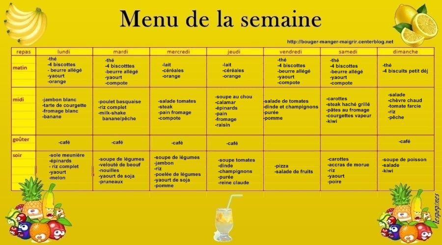 Mon menu du jour page 10 - Menu de la semaine pour maigrir ...